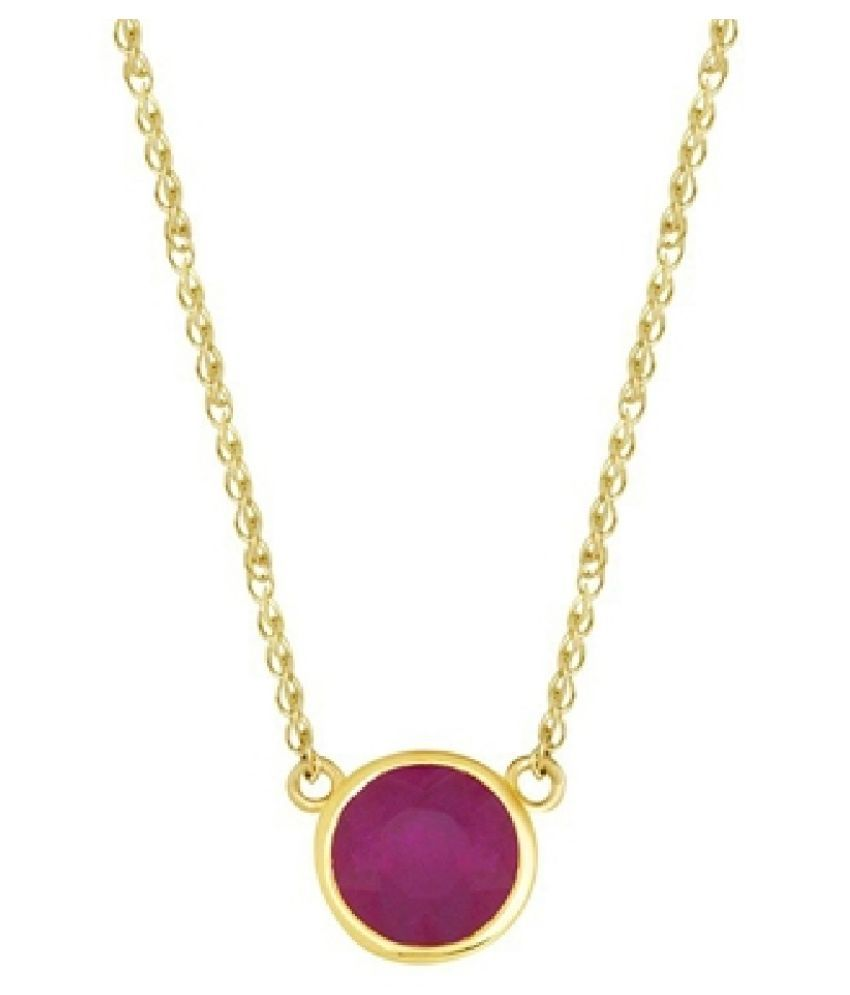 6.5 Ratti Lab Certified Stone 100% Original Pink Sapphire  Gold Plated Pendant for unisex by Ratan Bazaar\n