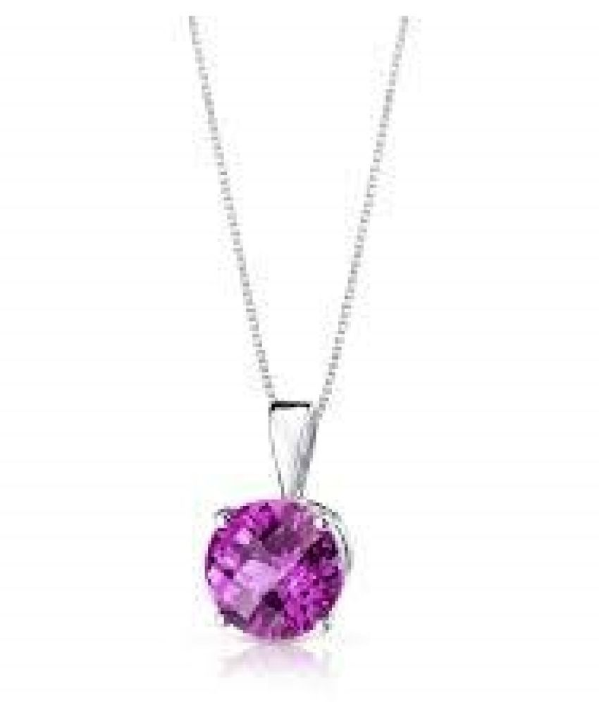 7.25 ratti Natural  Pink Sapphire  Stone silver Pendant for Astrological Purpose  Pendant by  Ratan Bazaar