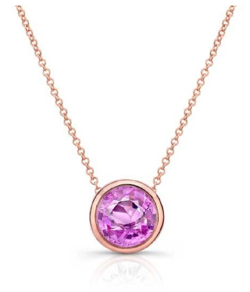 7 ratti stone pure Pink Sapphire  Gold Plated Pendant for unisex by   Ratan Bazaar\n