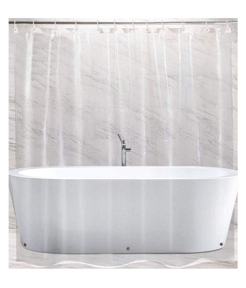 Fabfurn Single Door Transparent Ring Rod PVC Curtains White