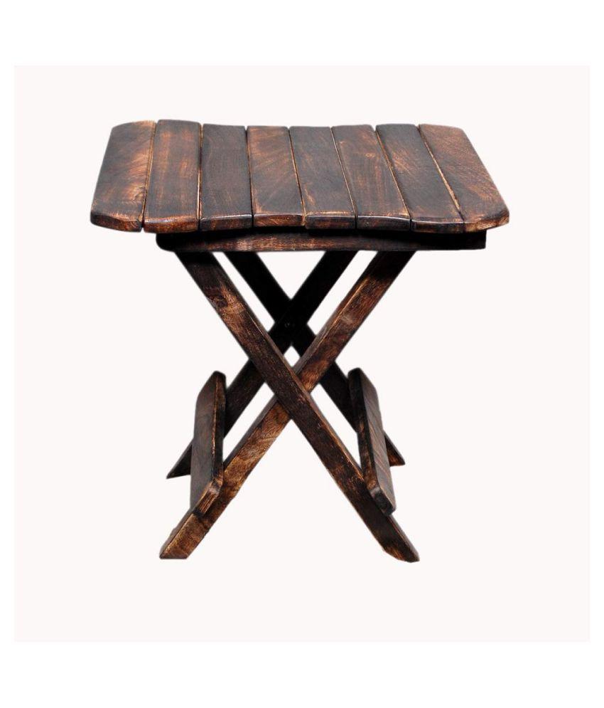 Leafyda Wooden Handicarft Folding Stool for Living Room Side Table