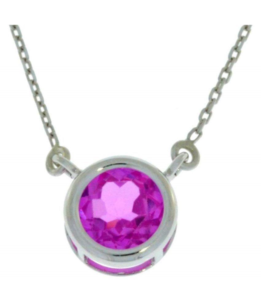 Pink Sapphire Pendant in 6.25 carat sterling silver by  Ratan Bazaar