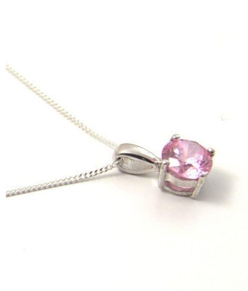 pure  Pink Sapphire Pendant in 3.25 carat silver by Ratan Bazaar