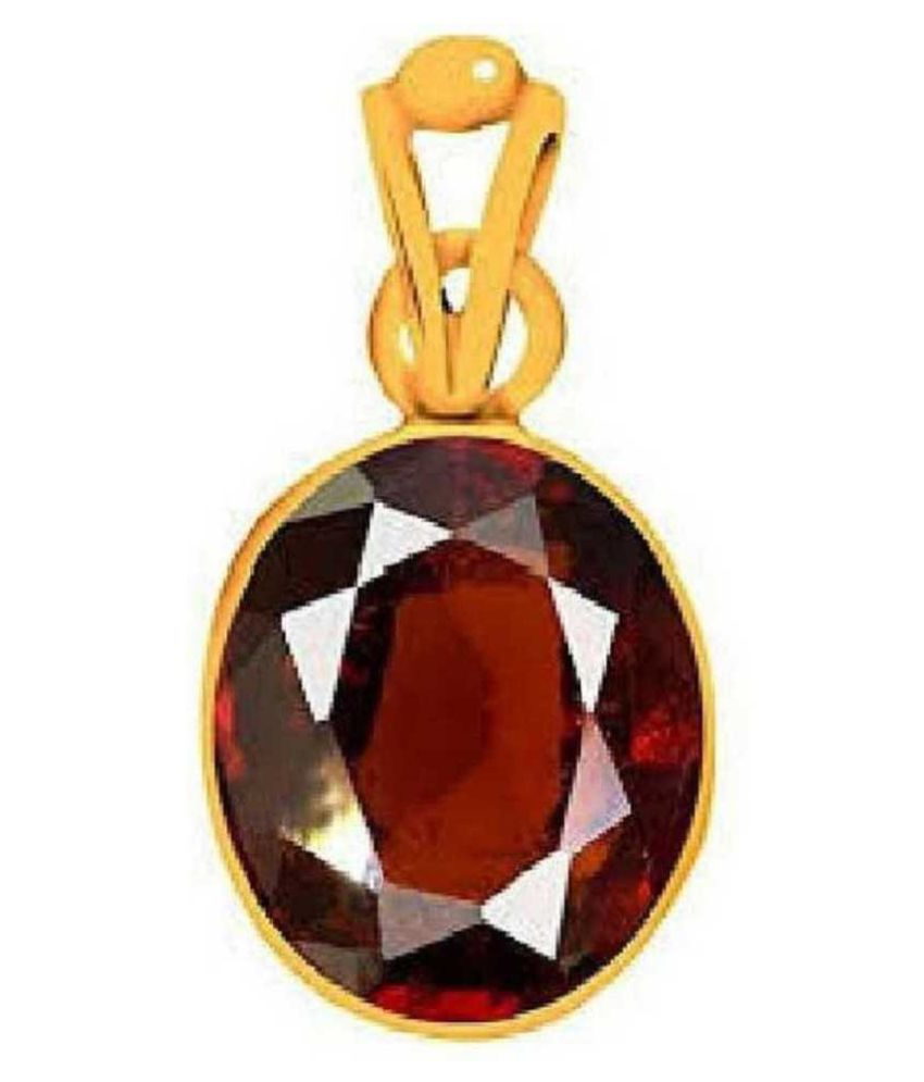 100% Original Hessonite (Gomed) Stone Lab Certified Stone 5 Ratti Gold Plated Pendant by Ratan Bazaar