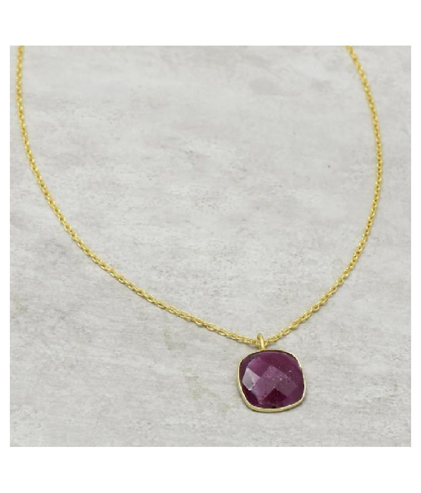 12.25 Ratti Pink Sapphire  pure Gold Plated Pendant for Unisex by   Ratan Bazaar\n