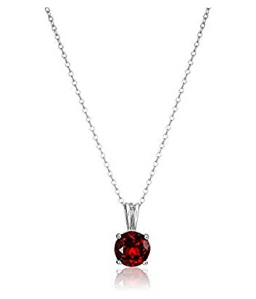6 Carat Lab Certified  Silver Hessonite (Gomed)   Pendantfor unisex by Ratan Bazaar
