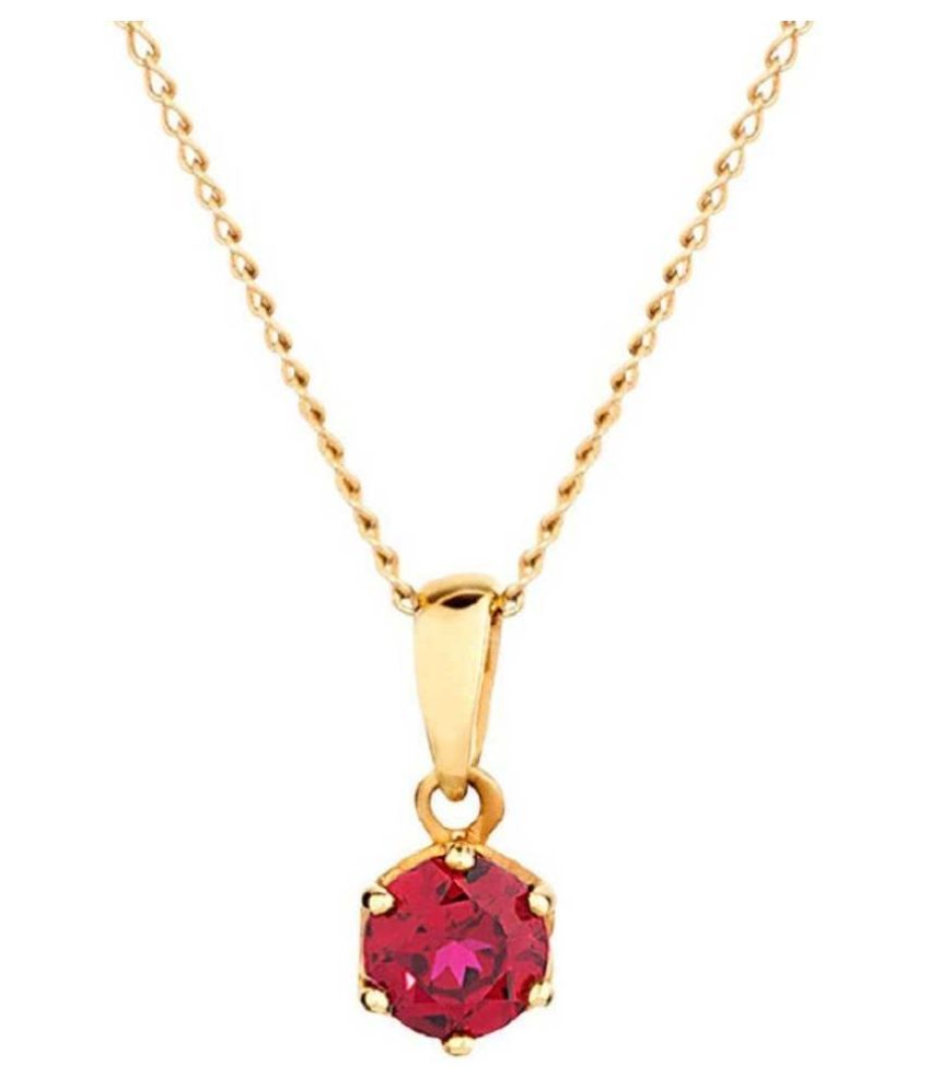 Certified Pink Sapphire stone 12.5 Carat Astrological Stone Gold Plated Pendant By  Ratan Bazaar