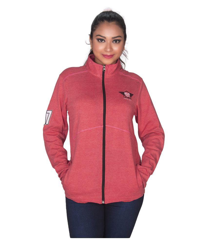 Leean Patterns Fleece Red Non Hooded Sweatshirt