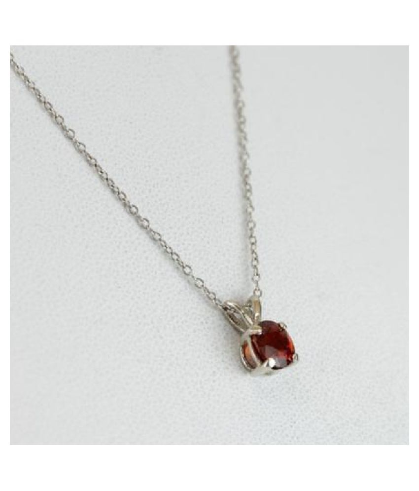 10 Ratti Hessonite (Gomed)  Pendant With Natural  silver Pendant by Ratan Bazaar