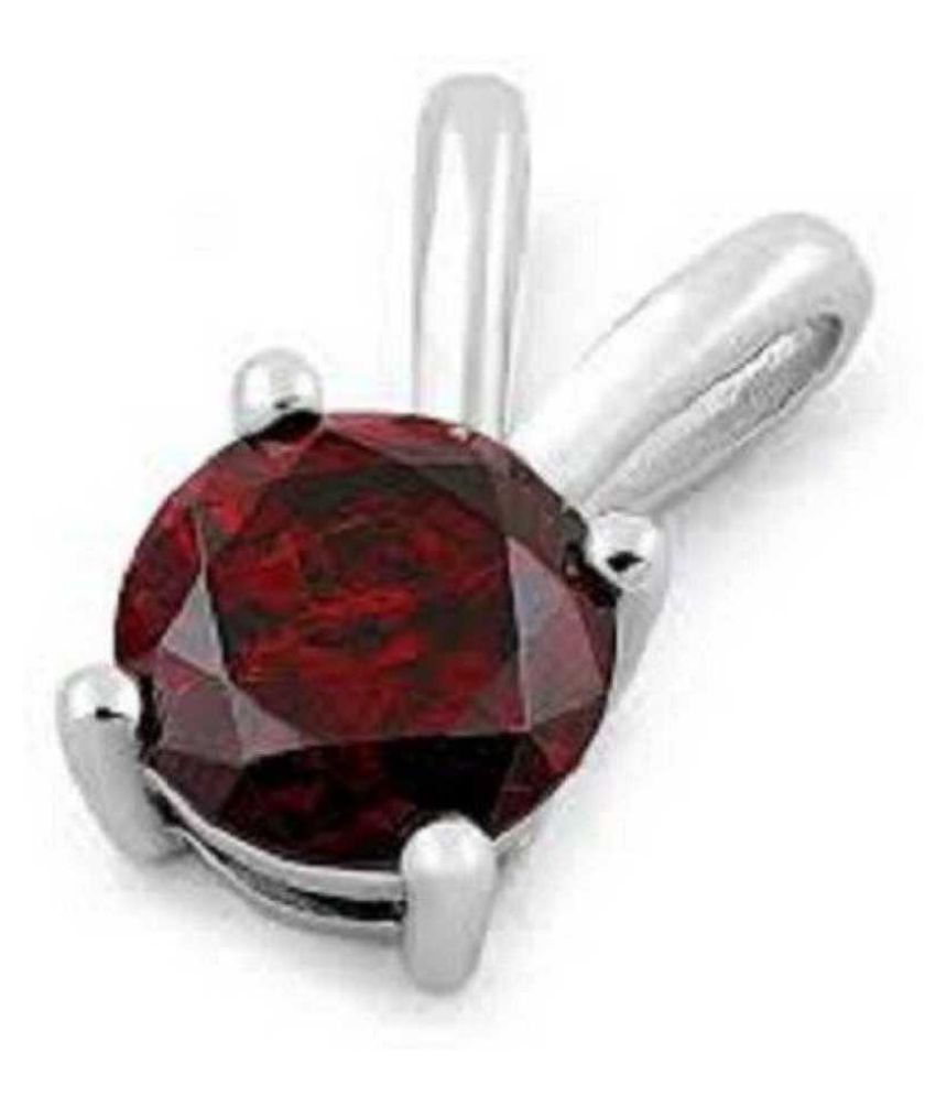 7.25 Carat Natural Stone silver Hessonite (Gomed)  Pendant for unisex by Ratan Bazaar\n