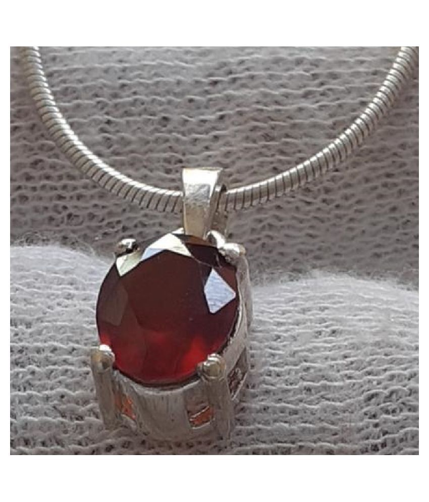 8.5 Carat Lab Certified silver Hessonite (Gomed)   Pendant for unisex by Ratan Bazaar