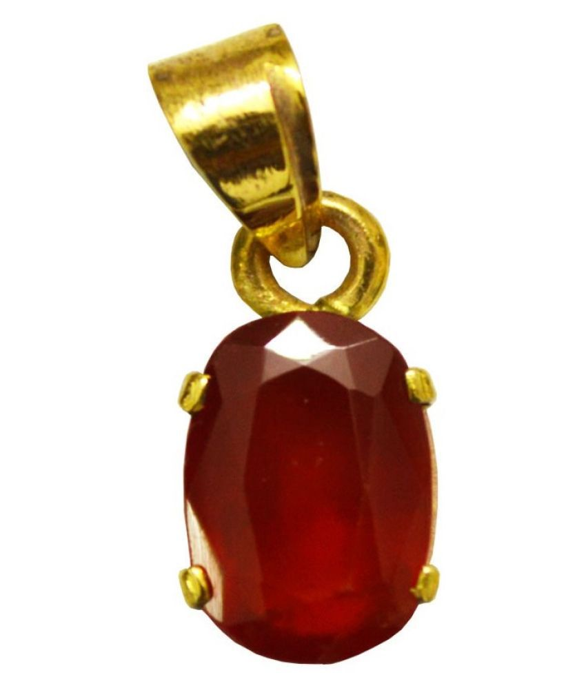 9.5 Ratti Hessonite (Gomed) gold plated Pendant With Certified Astrological Stone by Ratan Bazaar