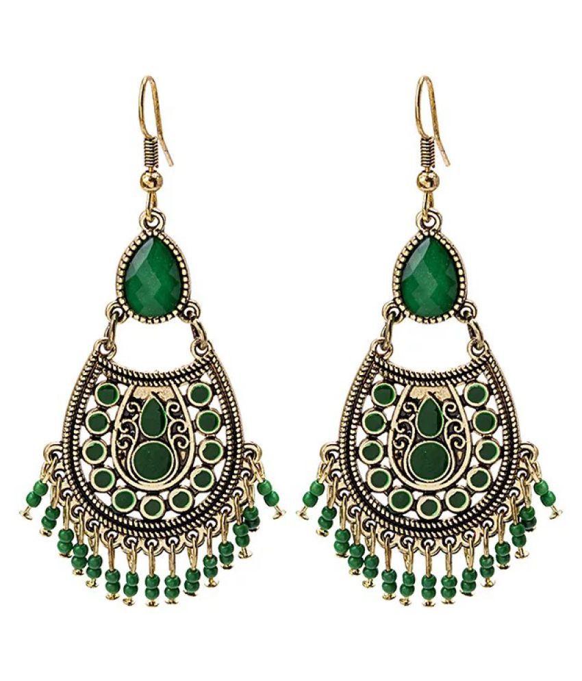 Ethinic Retro Green Beads Tassel Earring