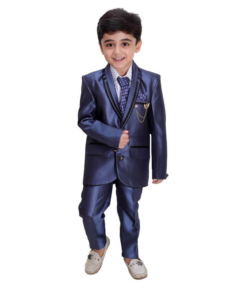 Fourfolds 4 Piece Coat Suit with Shirt Pant Blazer & Tie for Kids & Boys_SH160
