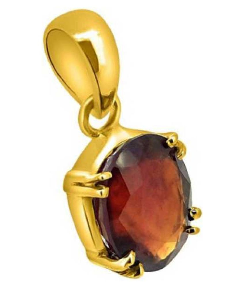 Hessonite (Gomed) Pendant with 100% Original 10 Ratti Lab Certified Stone Gold Plated Pendant by Ratan Bazaar