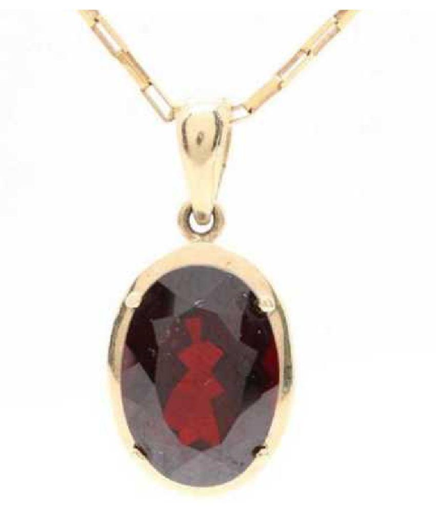 Natural 10.5 carat Hessonite (Gomed)  Gold Plated Pendant by  Ratan Bazaar\n