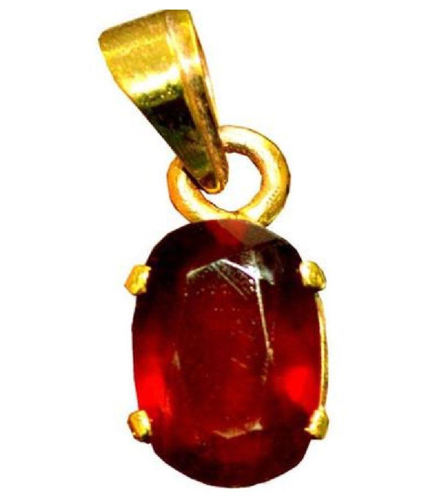 Natural Hessonite (Gomed) Stone 6.25 Ratti Gemstone Gold Plated Pendant Original Lab Certified By Ratan Bazaar