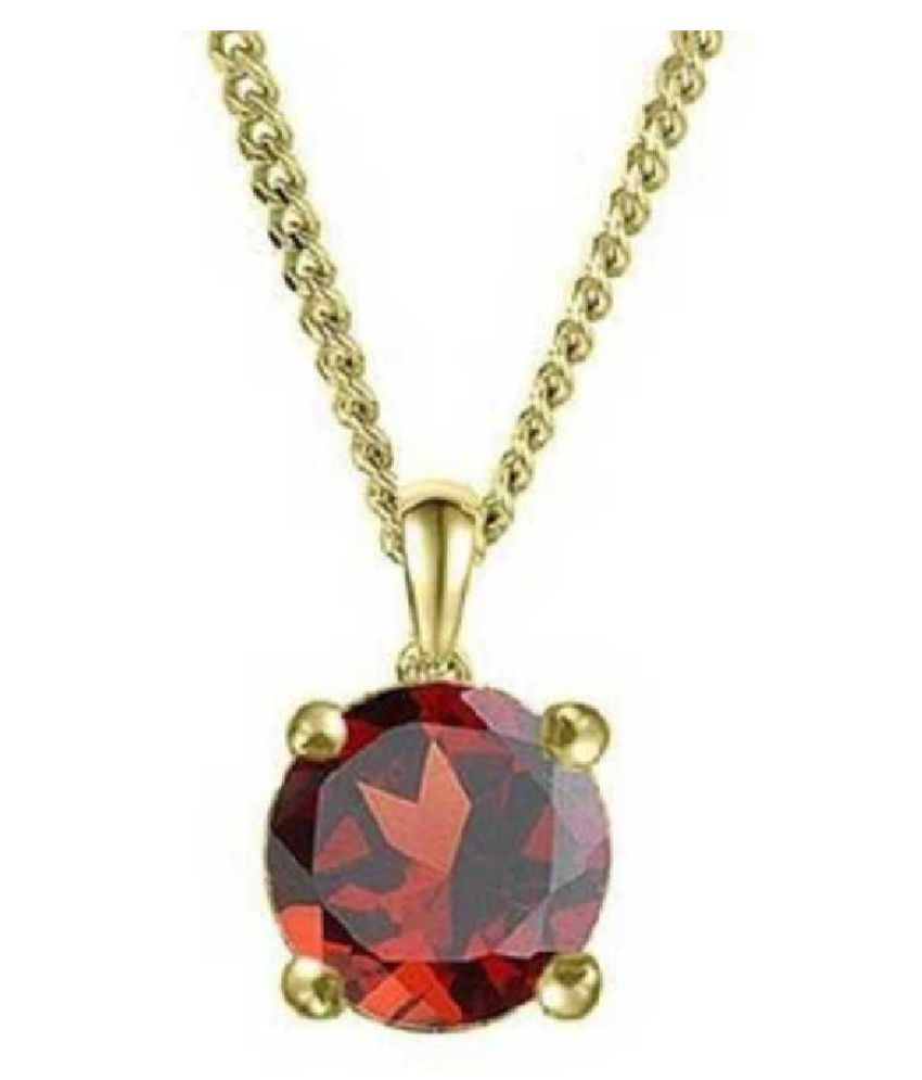 Natural & Unheated Stone Hessonite (Gomed) Stone 8.5 Ratti Gold Plated Pendant by Ratan Bazaar