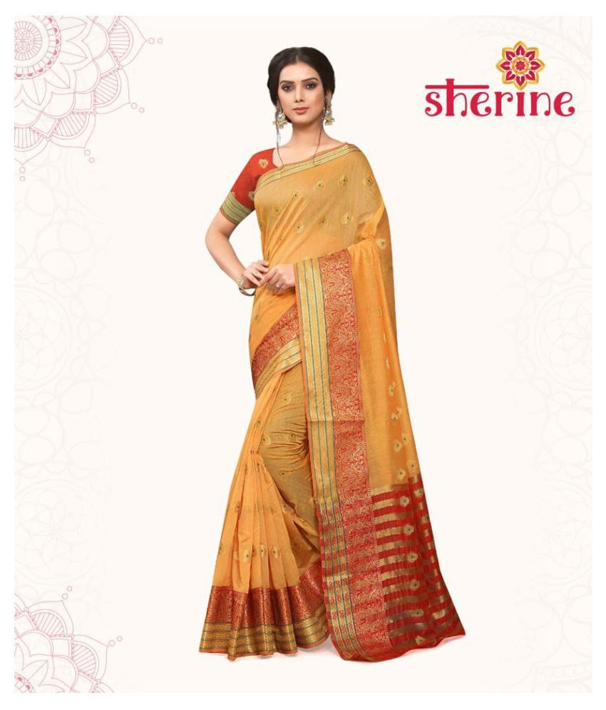 Sherine Mustard Yellow Saree (Fabric- Poly Cotton)