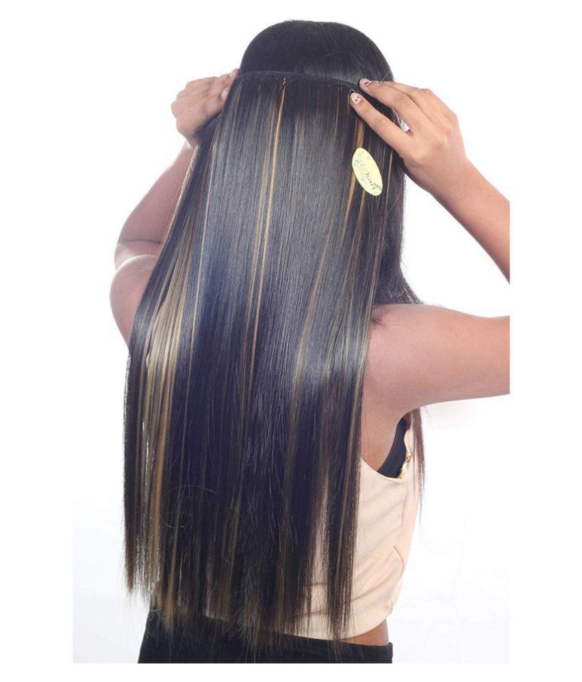 VSAKSH Straight Clip In Hair Extension Black & Golden