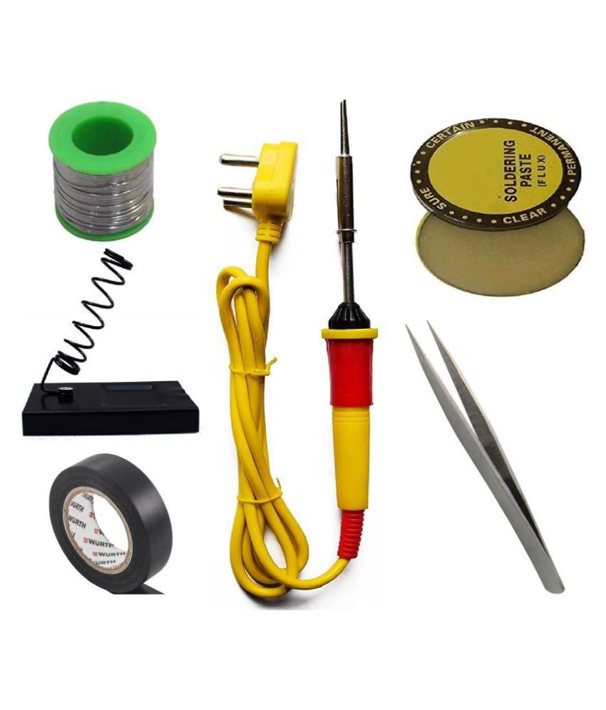 Ukoit (6 in 1) High Quality 25W Soldering Kit including Soldering Iron, Soldering Wire(5m), Flux, Iron Stand, Tweezer and Tape