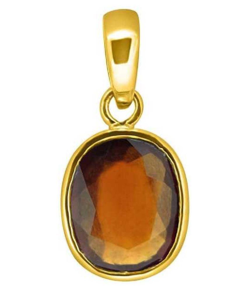 5.25 Carat Original Created Certified Hessonite (Gomed) Gold Plated Pendant for Men & WomenBy KUNDLI GEMS