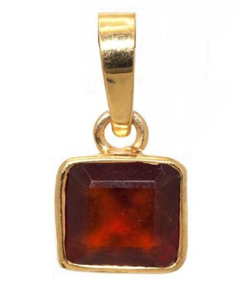 5.25 Ratti Lab Certified Stone 100% Original Hessonite (Gomed)  Gold Plated Pendant for unisex by KUNDLI GEMS\n