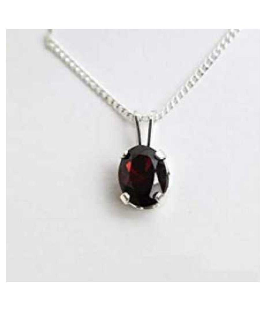 5.5 carat pure  Hessonite (Gomed)  Silver Pendant by KUNDLI GEMS \n