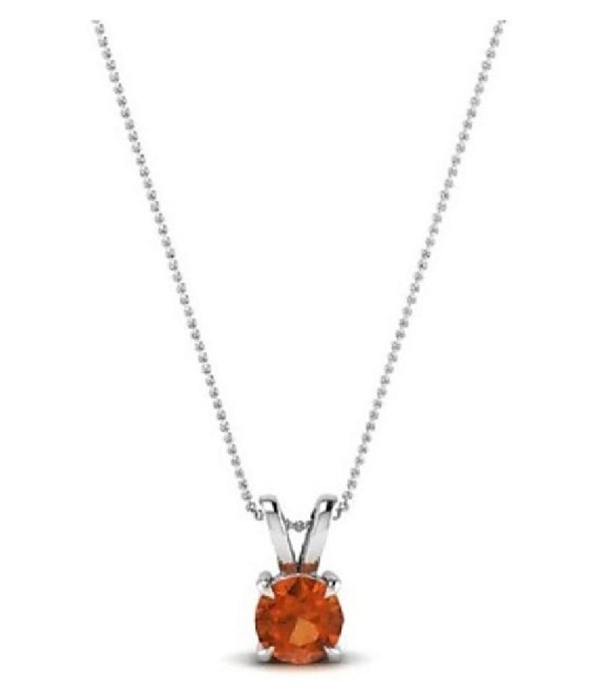 5 Ratti Lab Certified Stone 100% Original Hessonite (Gomed)  Silver Pendant for unisex by KUNDLI GEMS\n