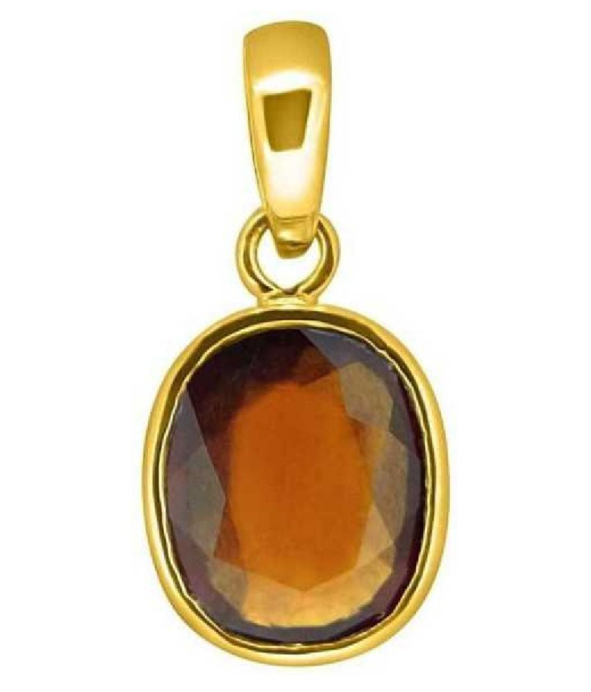 Natural Hessonite (Gomed) Stone 6 Ratti 100 % Certified Gold Plated Pendant By KUNDLI GEMS