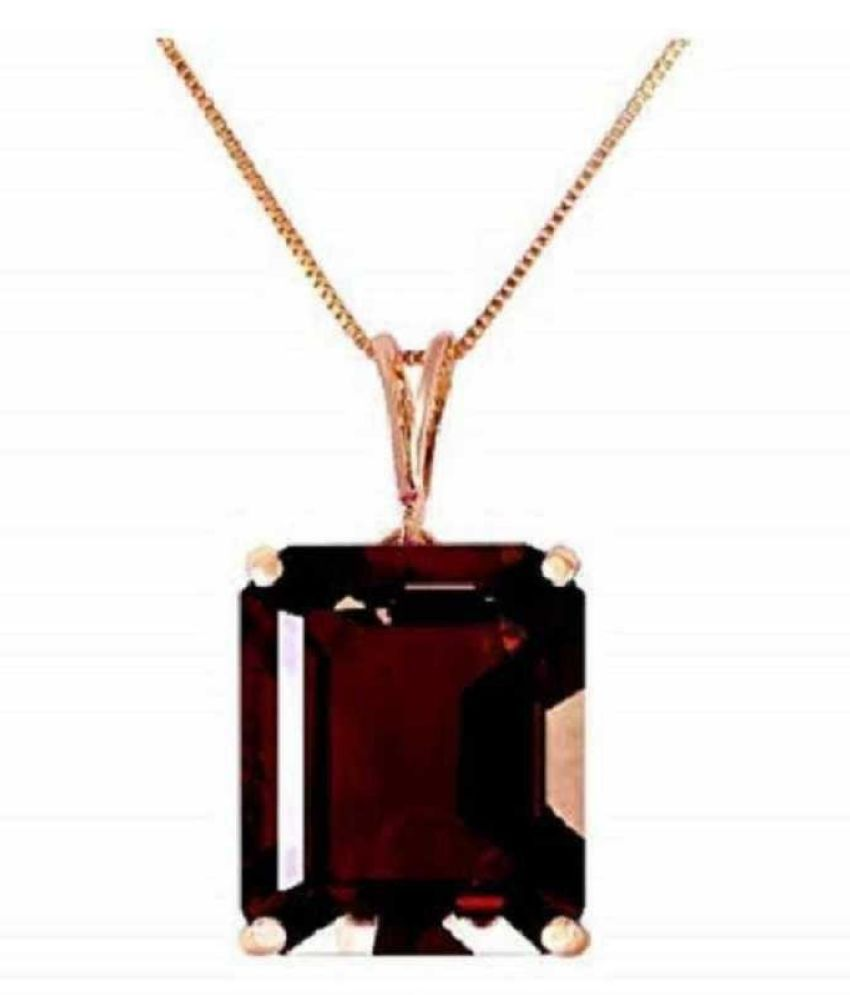 Original Created Certified Hessonite (Gomed) Stone 5 Ratti  Gold Plated Pendant for Men & Womenby KUNDLI GEMS