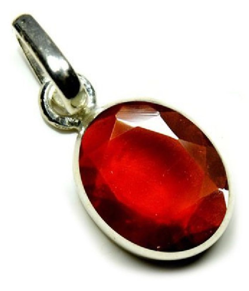 pure  Hessonite (Gomed) Pendant in 5.5 carat silver by KUNDLI GEMS