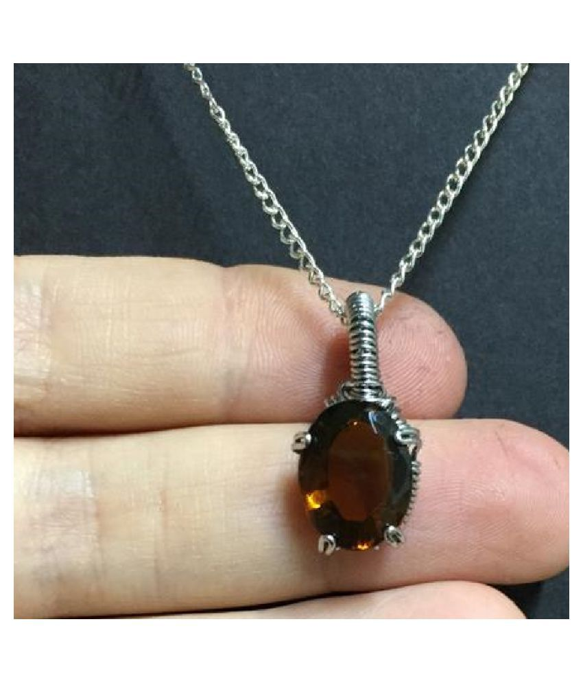 10.25 Carat  Hessonite (Gomed)   Pendant with lab Report silver Hessonite (Gomed)  Stone by KUNDLI GEMS