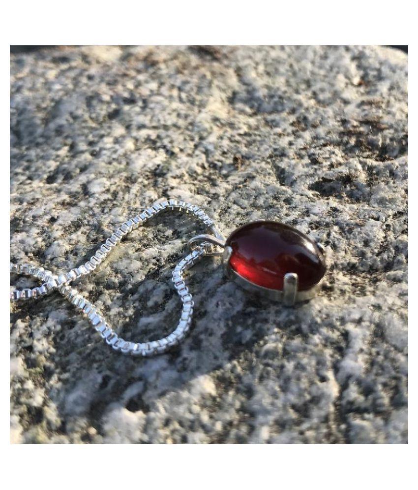 Pendant 11.25 ratti Natural  Hessonite (Gomed) stone silver Pendantby KUNDLI GEMS for unisex