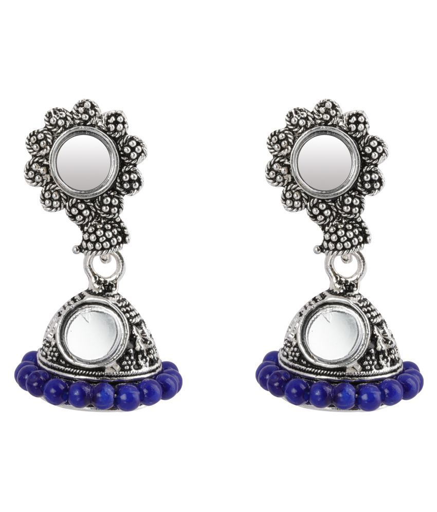 SILVER SHINE  Appealing Blue Mirror with Beads Jhumki Earrings