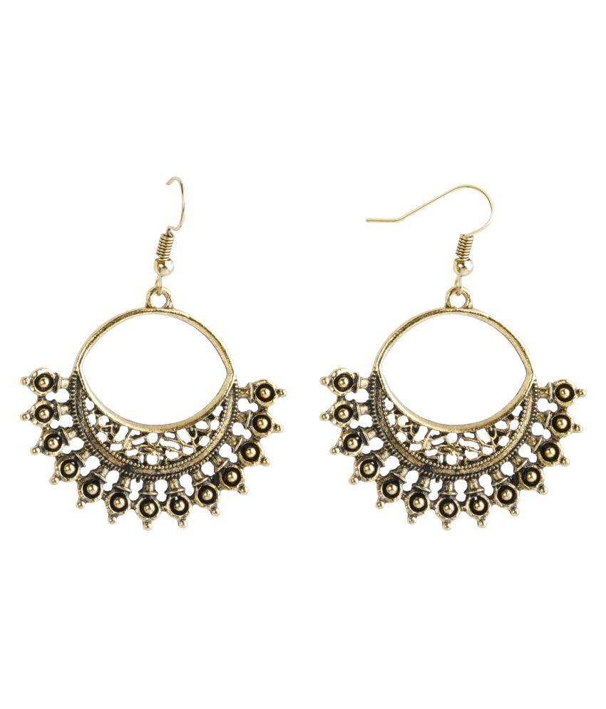 SILVER SHINE  Dashing Golden Warrior Design Chandbali Earrings for Women