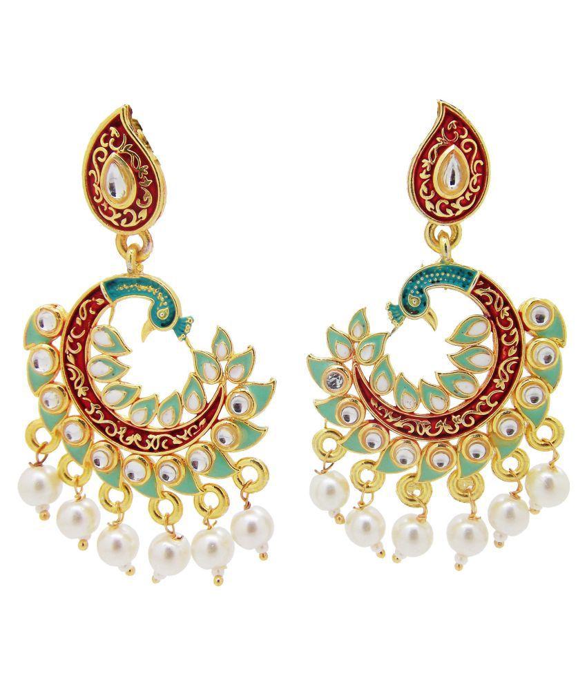 BIYU 22kt Peacock Collection Gold Plated Pearl Meenakari Earring Mint Green