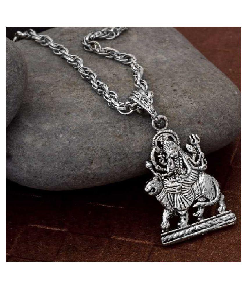 Ratan Bazaar - Sterling Silver  Maa Durga Sherawali Pendant for Men and Women
