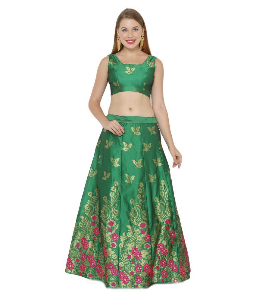 Salwar Studio Green Silk Blends Unstitched Semi Stitched Lehenga