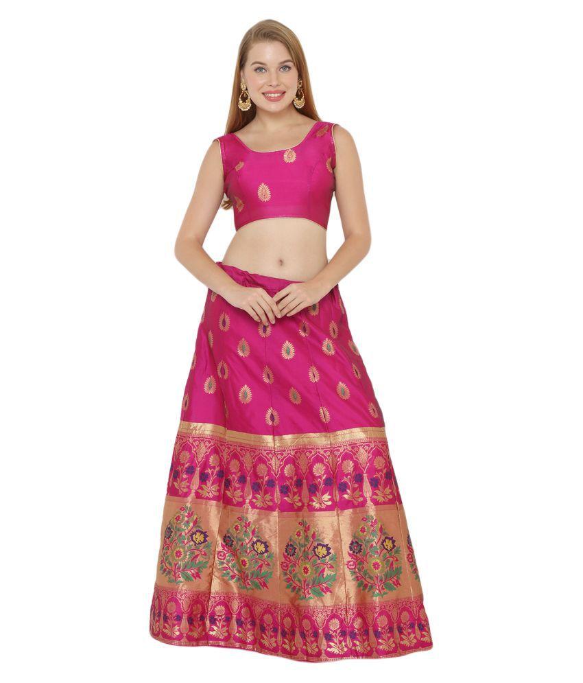 Salwar Studio Pink Silk Blends Unstitched Semi Stitched Lehenga