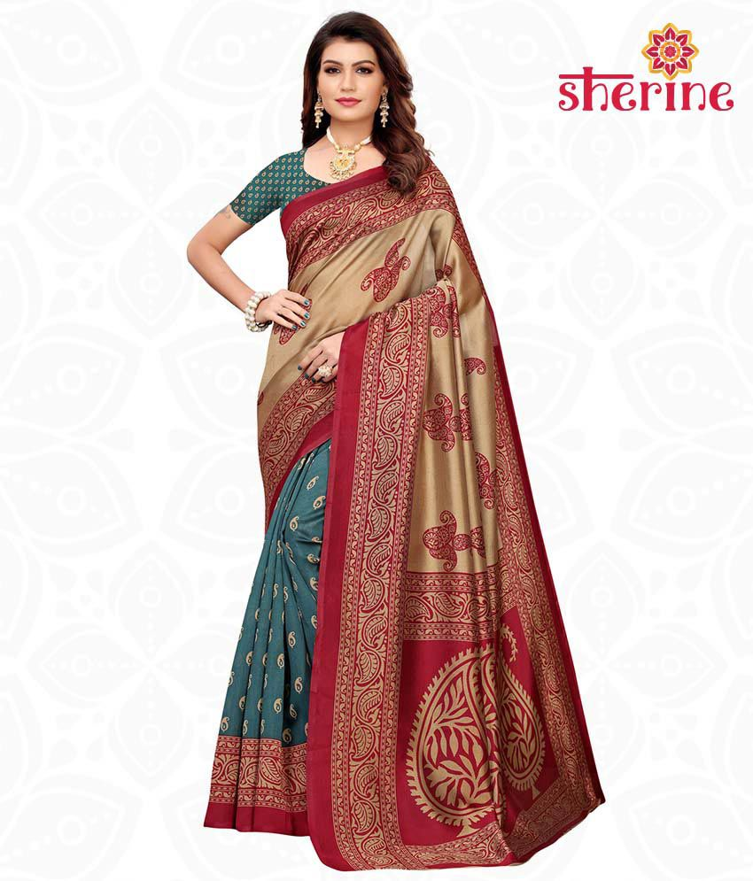 Sherine Beige Printed Saree with Blouse Piece