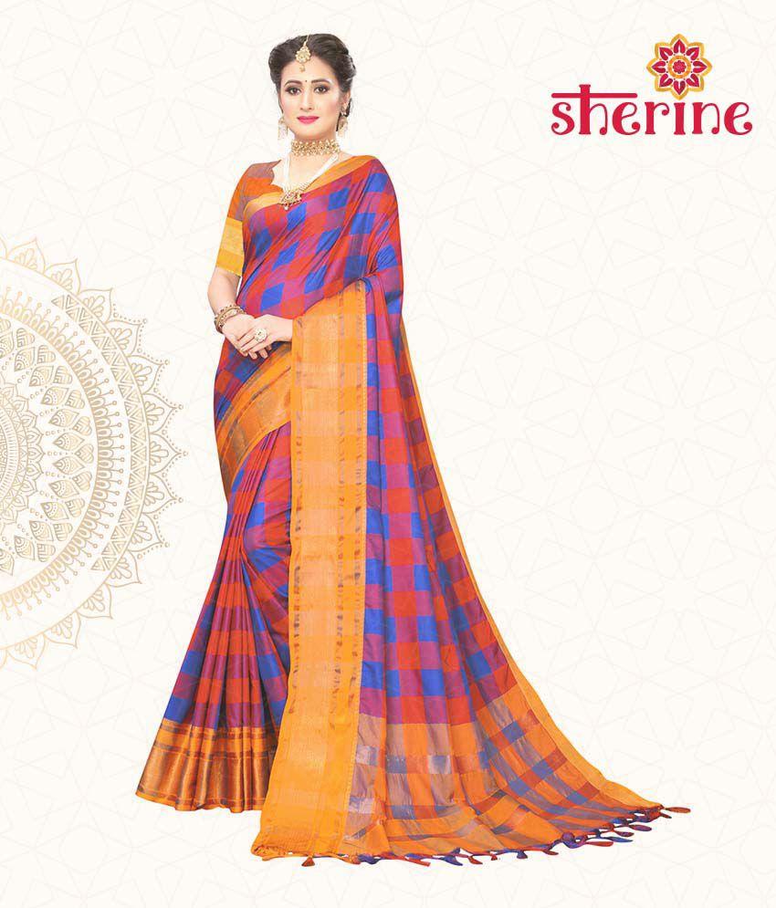 Sherine Orange Cotton Silk Saree