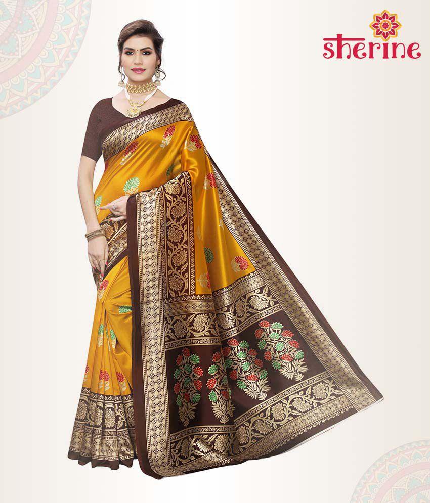 Sherine Orange Saree with Blouse Piece