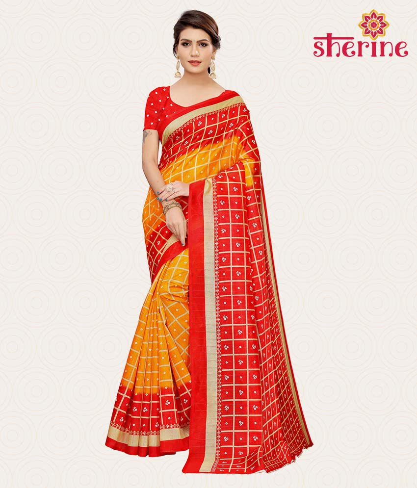 Sherine Red Saree with Blouse Piece