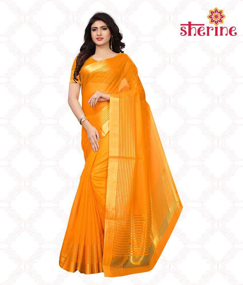 Sherine Yellow Light Golden Zari Saree with Blouse Piece(Fabric- Poly Cotton)