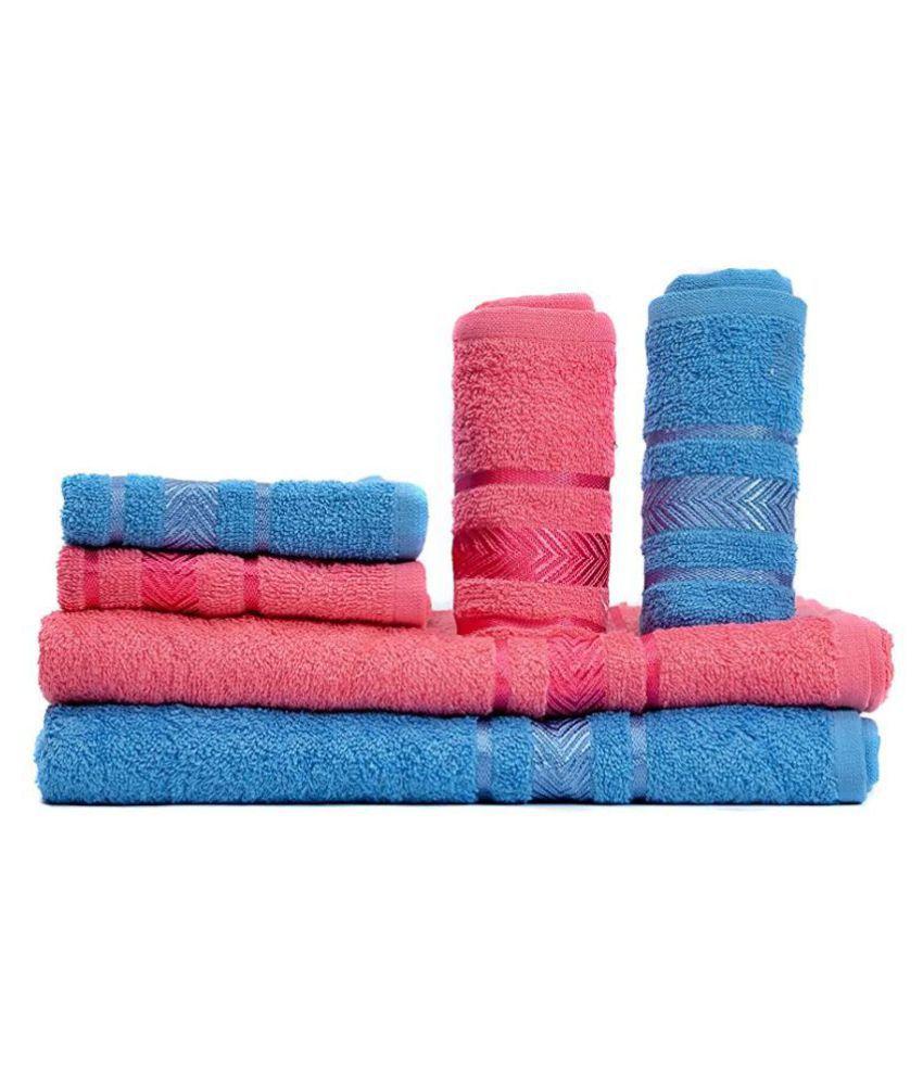 Vataso Set of 6 Cotton Bath & Hand Towel Set Multi