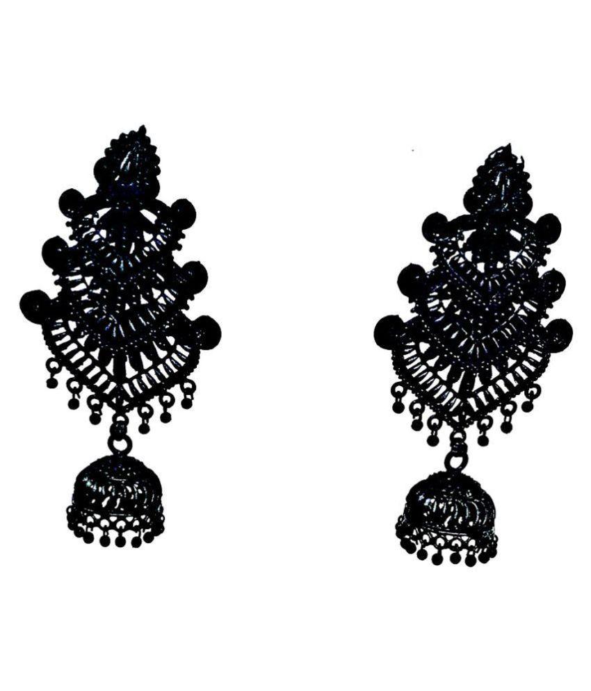 Black metal oxidized earring