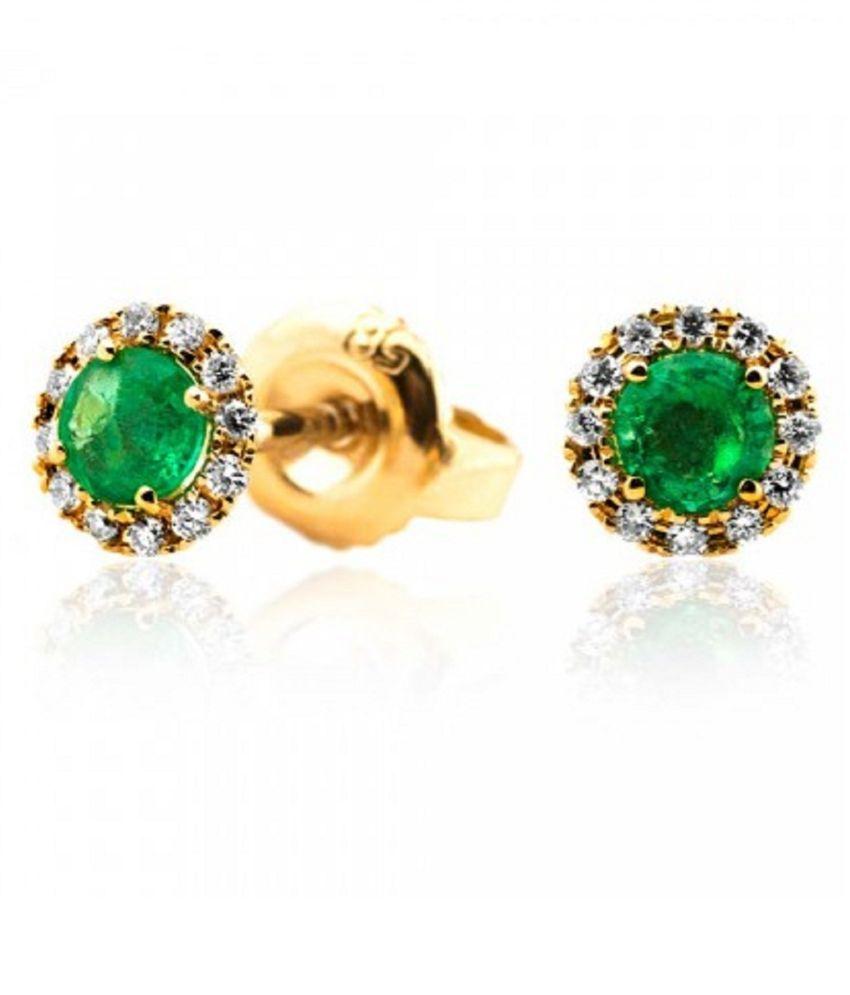 Emerald Studs Gold Plated  Earrings For Womenby  RATAN BAZAAR