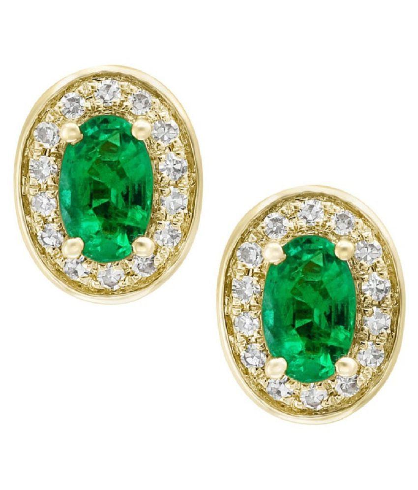 KUNDLI GEMS - Green Emerald stone Gold Plated earring original Panna earring for women & girls