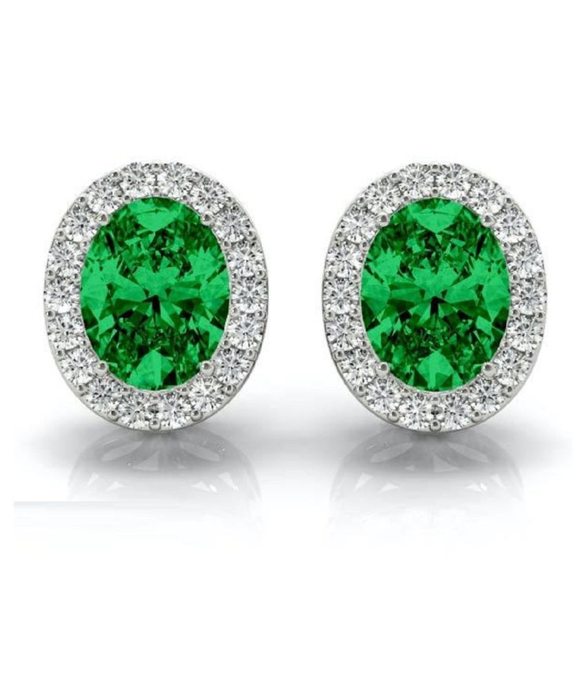 KUNDLI GEMS -  Green Emerald stone earring original Panna Sterling Silver earring for women & girls